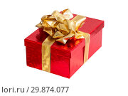 Red gift box isolated on white background. Стоковое фото, фотограф Евгения Литовченко / Фотобанк Лори