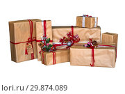 Gift box isolated on white background. Craft paper. Стоковое фото, фотограф Евгения Литовченко / Фотобанк Лори