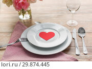 Купить «close up of table setting for valentines day», фото № 29874445, снято 9 февраля 2018 г. (c) Syda Productions / Фотобанк Лори