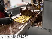 Купить «confectioner with chocolate coating machine», фото № 29874577, снято 4 декабря 2018 г. (c) Syda Productions / Фотобанк Лори