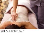 Купить «woman having back massage with cream at spa», фото № 29874697, снято 26 января 2017 г. (c) Syda Productions / Фотобанк Лори