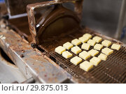 Купить «candies processing by chocolate coating machine», фото № 29875013, снято 4 декабря 2018 г. (c) Syda Productions / Фотобанк Лори
