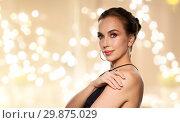 Купить «beautiful woman in black wearing diamond jewelry», фото № 29875029, снято 14 апреля 2016 г. (c) Syda Productions / Фотобанк Лори