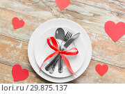 Купить «close up of table setting for valentines day», фото № 29875137, снято 9 февраля 2018 г. (c) Syda Productions / Фотобанк Лори
