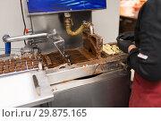 Купить «candies making by chocolate coating machine», фото № 29875165, снято 4 декабря 2018 г. (c) Syda Productions / Фотобанк Лори