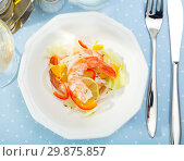 Купить «Top view of shrimp ceviche», фото № 29875857, снято 18 июля 2019 г. (c) Яков Филимонов / Фотобанк Лори