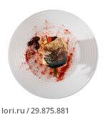 Купить «Tasty rolls-up of fillet of mackerel with olives and mashed potatoes», фото № 29875881, снято 27 марта 2019 г. (c) Яков Филимонов / Фотобанк Лори