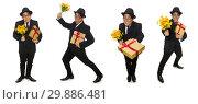Купить «Funny man with flowers and giftbox», фото № 29886481, снято 24 января 2015 г. (c) Elnur / Фотобанк Лори