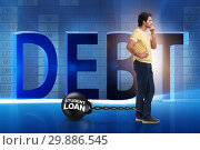 Купить «Student in loan and expensive education concept», фото № 29886545, снято 19 марта 2019 г. (c) Elnur / Фотобанк Лори
