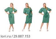 Купить «Young woman in green dress isolated on white», фото № 29887153, снято 22 сентября 2014 г. (c) Elnur / Фотобанк Лори