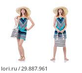 Купить «Pretty woman with summer handbag and panama isolated on white», фото № 29887961, снято 27 августа 2013 г. (c) Elnur / Фотобанк Лори