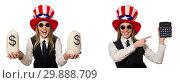 Купить «Collage with woman and american hat», фото № 29888709, снято 19 марта 2019 г. (c) Elnur / Фотобанк Лори