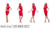 Blondie in red dress isolated on white. Стоковое фото, фотограф Elnur / Фотобанк Лори