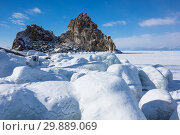Купить «Cape Burkhan (Shaman Rock) on Olkhon Island at Baikal Lake», фото № 29889069, снято 2 марта 2017 г. (c) Юлия Белоусова / Фотобанк Лори