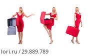 Купить «Woman in red dress and travel case isolated on white», фото № 29889789, снято 30 ноября 2013 г. (c) Elnur / Фотобанк Лори
