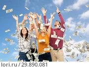 Купить «happy friends picking money falling from up above», фото № 29890081, снято 10 ноября 2018 г. (c) Syda Productions / Фотобанк Лори