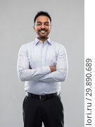 Купить «indian businessman in shirt over grey background», фото № 29890689, снято 12 января 2019 г. (c) Syda Productions / Фотобанк Лори