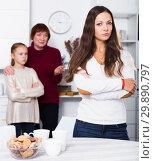 Купить «Upset woman after quarrel with family», фото № 29890797, снято 25 ноября 2017 г. (c) Яков Филимонов / Фотобанк Лори