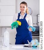 Купить «Young girl cleaning the room with mop», фото № 29890989, снято 11 апреля 2017 г. (c) Яков Филимонов / Фотобанк Лори