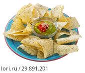 Купить «Corn chips nachos on plate with guacamole sauce at plate», фото № 29891201, снято 19 марта 2019 г. (c) Яков Филимонов / Фотобанк Лори