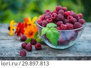 Купить «Fresh delicious raspberry and bright flowers on wooden table in garden», фото № 29897813, снято 25 августа 2018 г. (c) Короленко Елена / Фотобанк Лори
