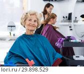Купить «Senior woman waiting for haircutting», фото № 29898529, снято 26 июня 2018 г. (c) Яков Филимонов / Фотобанк Лори