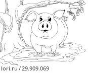 Свинья стоит в луже у раскидистого дуба. Иллюстрация для раскраски. Стоковая иллюстрация, иллюстратор Олег Хархан / Фотобанк Лори