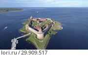 Купить «Aerial of fortress Oreshek on island Neva river», видеоролик № 29909517, снято 16 сентября 2018 г. (c) Михаил Коханчиков / Фотобанк Лори