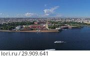 Купить «Flight around Peter and Paul Fortress on Neva», видеоролик № 29909641, снято 10 сентября 2018 г. (c) Михаил Коханчиков / Фотобанк Лори
