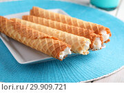 Купить «Gaufres de Montcuq, rolled wafers with cream filling», фото № 29909721, снято 14 января 2019 г. (c) Stockphoto / Фотобанк Лори
