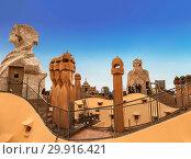 Купить «Spain, Barcelona, La Pedrera, a sculptural composition on the roof», фото № 29916421, снято 8 апреля 2018 г. (c) Наталья Волкова / Фотобанк Лори