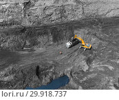 Купить «View from above, on the process of sorting coal mined. Open pit mine, Mining coal extractive industry anthracite.», фото № 29918737, снято 3 августа 2018 г. (c) Сергей Тимофеев / Фотобанк Лори
