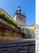 Купить «Clock tower in Sighisoara is historical landmark», фото № 29919369, снято 16 сентября 2017 г. (c) Яков Филимонов / Фотобанк Лори