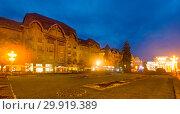 Купить «Twilight view of Victoriei Square with National Opera», фото № 29919389, снято 25 сентября 2017 г. (c) Яков Филимонов / Фотобанк Лори