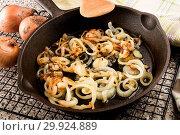 Купить «Sliced and roasted onions in a cast iron pan.», фото № 29924889, снято 16 февраля 2019 г. (c) easy Fotostock / Фотобанк Лори