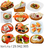 Купить «Collage of various sandwiches on a white background», фото № 29942905, снято 26 марта 2019 г. (c) Яков Филимонов / Фотобанк Лори