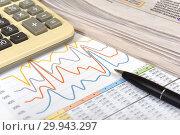 Купить «Калькулятор, таблицы, графики, диаграммы и ручка. Бизнес-натюрморт», эксклюзивное фото № 29943297, снято 9 февраля 2019 г. (c) Юрий Морозов / Фотобанк Лори