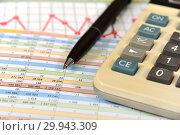 Купить «Калькулятор, таблицы, графики, диаграммы и ручка. Бизнес-натюрморт», эксклюзивное фото № 29943309, снято 9 февраля 2019 г. (c) Юрий Морозов / Фотобанк Лори