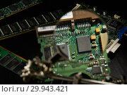 Купить «St.Petersburg, Russia - April 2018 -Printed circuit board. Computer technology background.», фото № 29943421, снято 13 апреля 2018 г. (c) Мельников Дмитрий / Фотобанк Лори