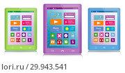 Три планшетных компьютера в корпусах разных цветов. Стоковая иллюстрация, иллюстратор Евгений Ходченков / Фотобанк Лори