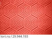 Купить «Figured creative hexagon pattern of ceramic wall in a trendy color of the year 2019 Living Coral pantone.», фото № 29944193, снято 14 февраля 2018 г. (c) Ярослав Данильченко / Фотобанк Лори