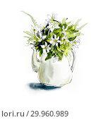 Bouquet of white anemonies. Watercolor hand drawn illustration. Стоковая иллюстрация, иллюстратор Мария Кутузова / Фотобанк Лори