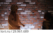 Купить «Training studio. Martial arts. Karate. Two little girls fighting.», видеоролик № 29961689, снято 8 июля 2020 г. (c) Константин Шишкин / Фотобанк Лори
