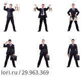 Купить «Businessman with money sacks, briefcase and handgun», фото № 29963369, снято 20 марта 2019 г. (c) Elnur / Фотобанк Лори