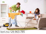 Купить «Husband helping leg injured wife in housework», фото № 29963785, снято 4 октября 2018 г. (c) Elnur / Фотобанк Лори