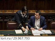 Купить «Italian Minister of Interior and Deputy Prime Minister Matteo Salvini during the Question time at Chamber of Deputies, Rome, ITALY-13-02-2019.», фото № 29967793, снято 13 февраля 2019 г. (c) age Fotostock / Фотобанк Лори