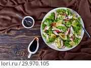 Купить «chicken, lettuce, ananas, radish, cucumber salad», фото № 29970105, снято 12 февраля 2019 г. (c) Oksana Zh / Фотобанк Лори