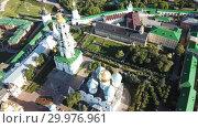 Купить «Aerial view of unique monastic complex of Trinity Lavra of St. Sergius, Sergiev Posad, Russia», видеоролик № 29976961, снято 28 июня 2018 г. (c) Яков Филимонов / Фотобанк Лори