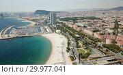 Купить «Shoreline of Barcelona is colorful landmark of Spain outdoors», видеоролик № 29977041, снято 27 июня 2018 г. (c) Яков Филимонов / Фотобанк Лори