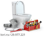 Купить «Plumbing repair service. Bowl and bidet with plumbing tools for a plumber and pvc plastic tubes.», фото № 29977221, снято 23 марта 2019 г. (c) Maksym Yemelyanov / Фотобанк Лори